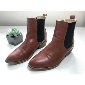 Boutique Leather Pointed Toe Brown Ankle Boot